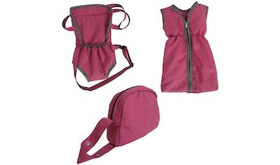 Knorrtoys® Puppen Schlafsack »Puppenzubehörset - berry«, mit Puppenbauchtrage und Wickeltasche kaufen