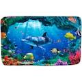 Sanilo Badematte »Delphin Korallen«, Höhe 15 mm, schnell trocknend, Memory Schaum