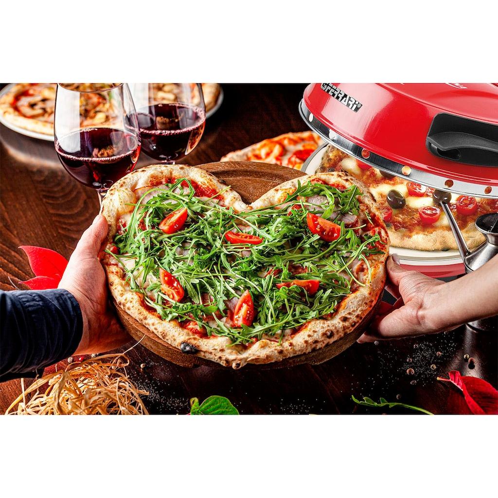 G3Ferrari Pizzaofen »Delizia G1000602 rot«, Ober-/Unterhitze, 1200 W, bis 400 Grad mit feuerfestem Naturstein / Pizza und Fladen uvm. in 3 Minuten / die Nr. 1 weltweit der Pizzamaker / auch für Tisch und Garten