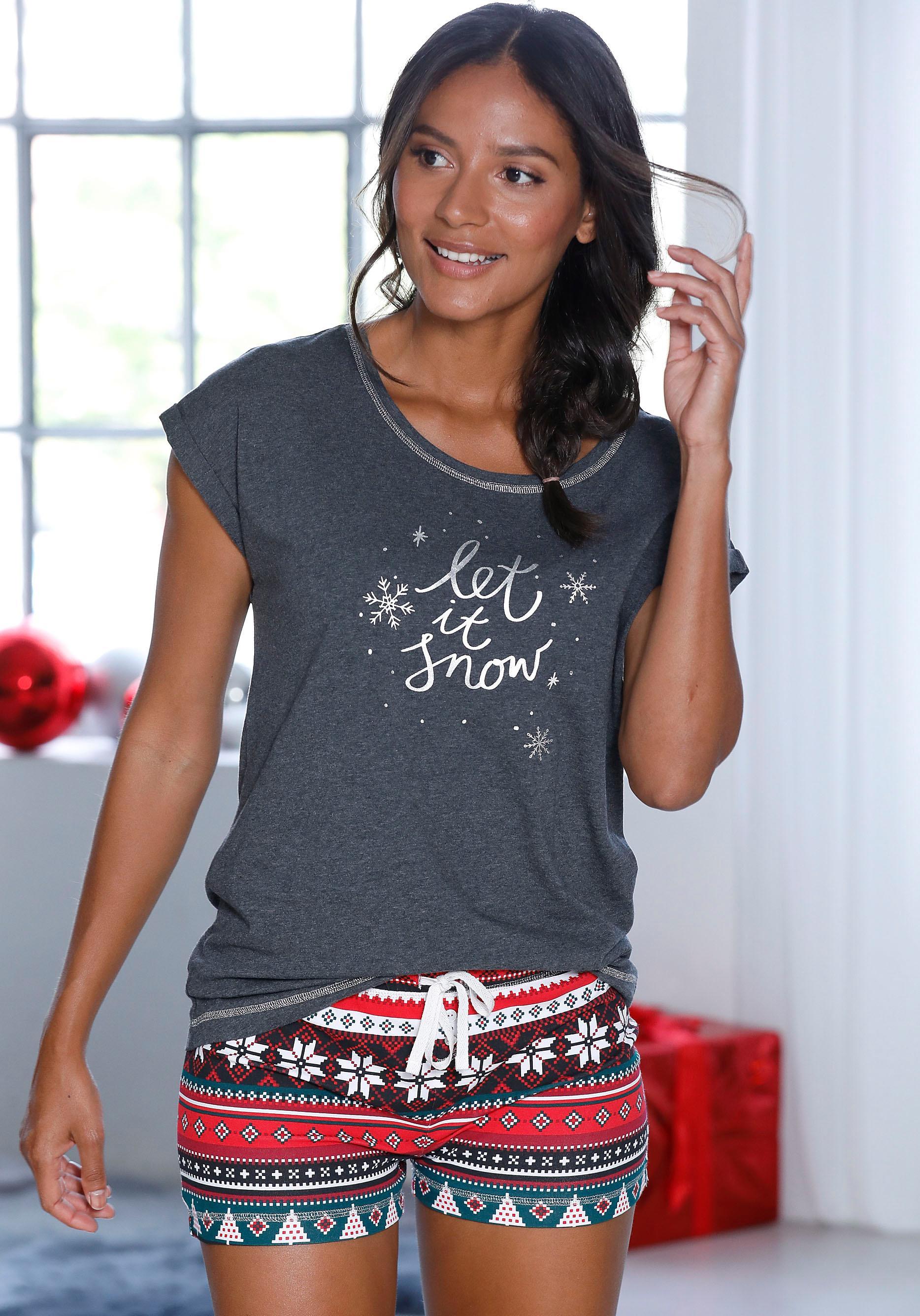 LASCANA Shorty mit weihnachtlichem Muster | Bekleidung > Nachtwäsche > Shortys | Grau | Baumwolle | Lascana