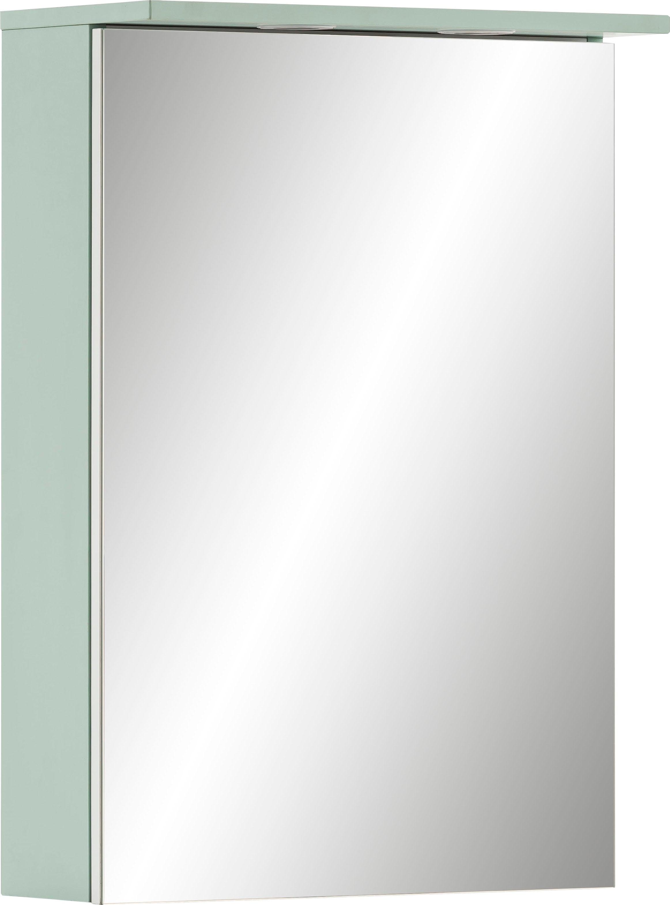Schildmeyer Spiegelschrank Sarah, Breite 50,4 cm, 1-türig, 2 LED-Einbaustrahler, Schalter-/Steckdosenbox, Glaseinlegeböden, Made in Germany