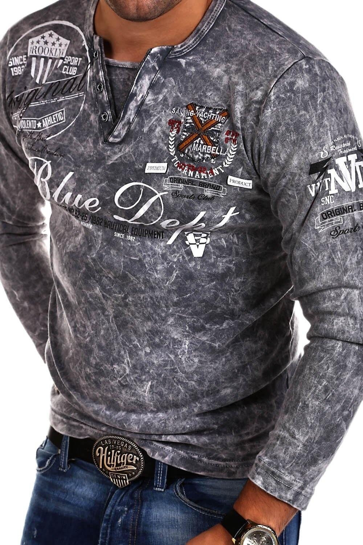 behype -  Langarmshirt VT-Blue, mit ausgefallenem Print
