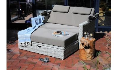 Destiny Gartenmöbelset »FLORENZ«, (5 tlg.), Multifunktions-Lounge weiß/ grau meliert,... kaufen