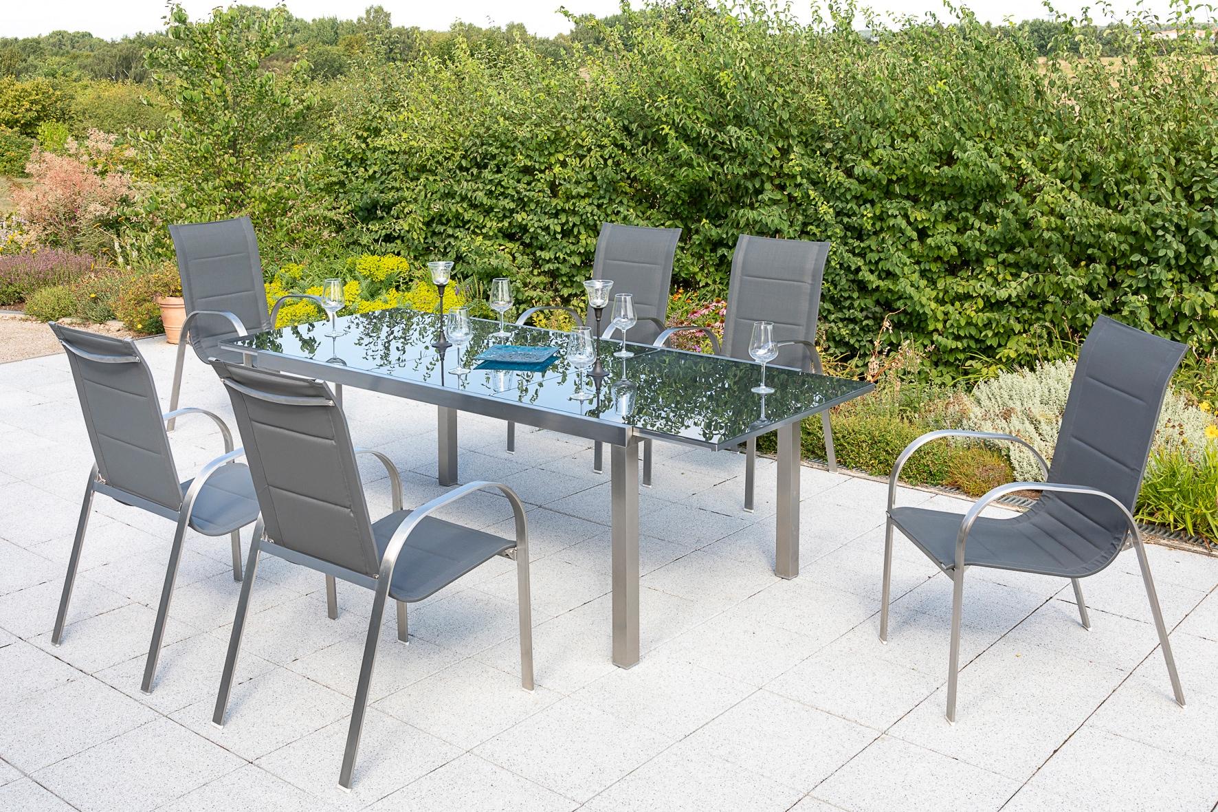MERXX Gartenmöbelset Lucca 7-tlg 6 Sessel Tisch 180 (240)x100 cm Edelstahl/Textil
