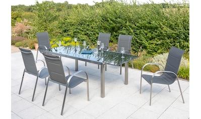 MERXX Gartenmöbelset »Lucca«, 7 - tlg., 6 Sessel, Tisch 180 (240)x100 cm, Edelstahl/Textil kaufen