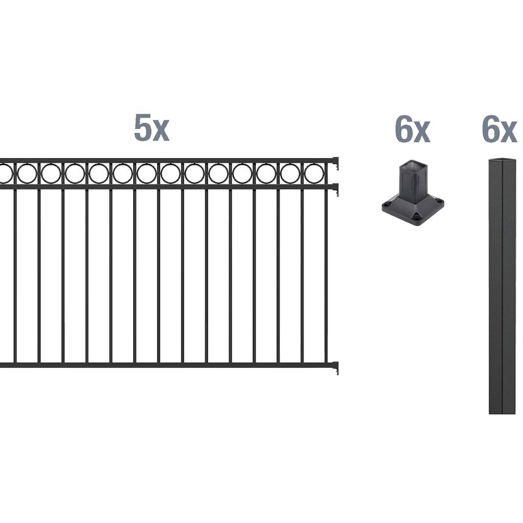 GAH Alberts Metallzaun »Circle«, 120 cm hoch, 5 Matten für 10 m, 6 Pfosten zum Aufschrauben