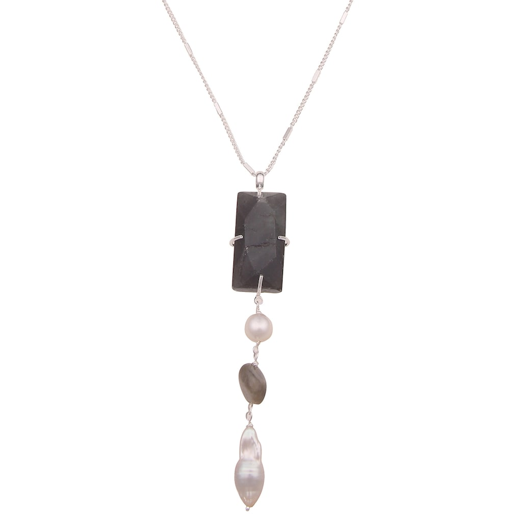 leslii Lange Kette »Naturstein Perle«, mit mehreren Anhängern