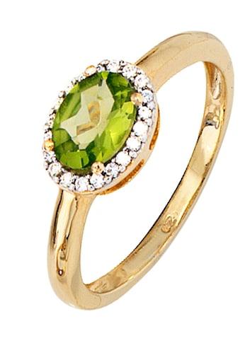 JOBO Diamantring, 585 Gold bicolor mit 20 Diamanten und Peridot kaufen