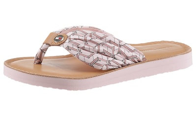 TOMMY HILFIGER Zehentrenner »TH LEATHER FOOTBED BEACH SANDAL«, mit Logoemblem kaufen