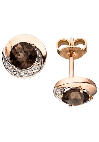 JOBO Paar Ohrstecker, rund 585 Roségold mit 4 Diamanten und Rauchquarz kaufen