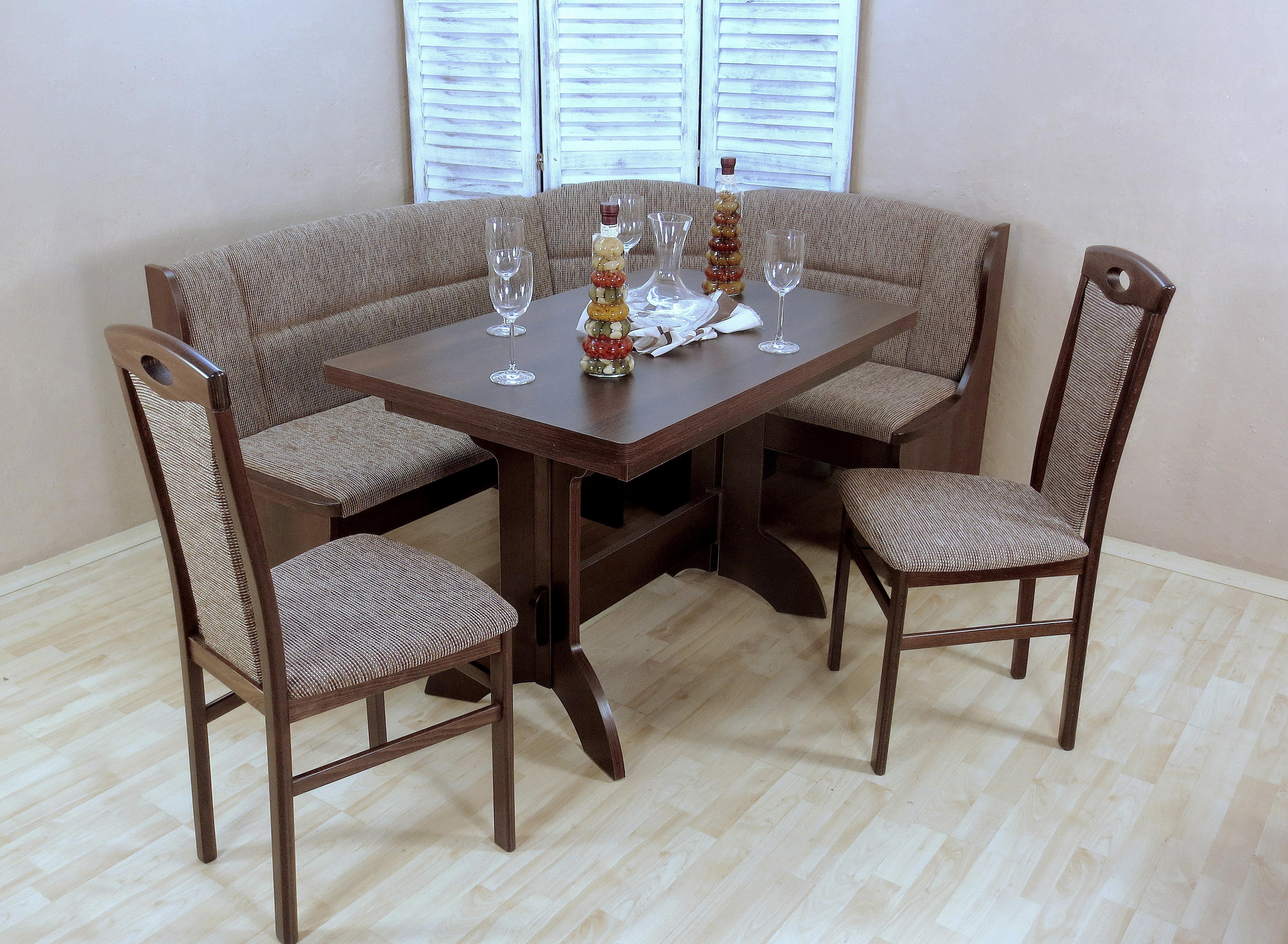 Eckbankgruppe (Set 4-tlg) | Küche und Esszimmer > Essgruppen | Braun | Strukturstoff - Massivholz