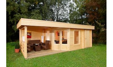 WOLFF FINNHAUS Set: Gartenhaus »Maja 40 - B/2«, BxT: 753x349 cm, Fußboden, Anbaudach mit Rückwand, 2 Räume kaufen