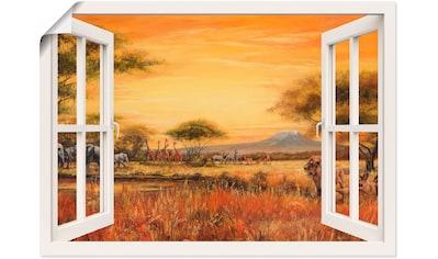 Artland Wandbild »Fensterblick Afrikanische Steppe Löwen« kaufen