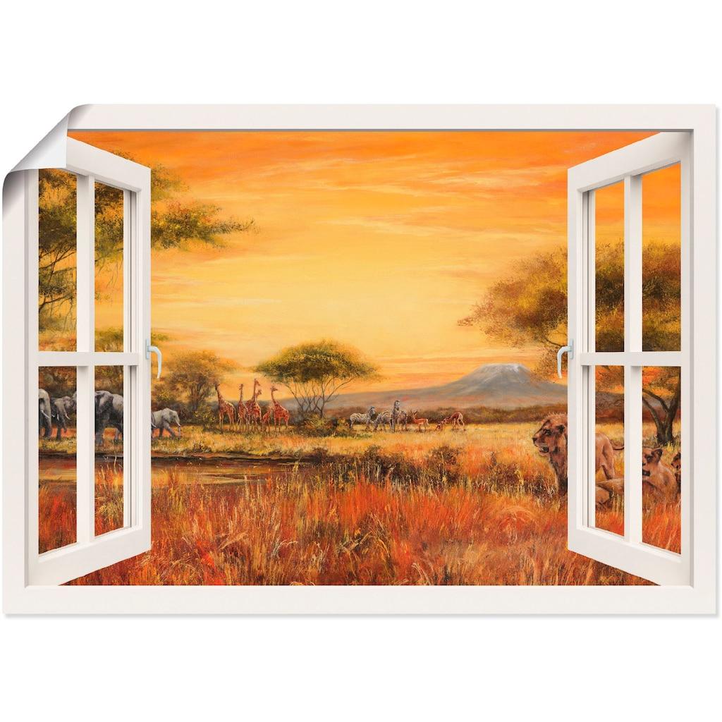 Artland Wandbild »Fensterblick Afrikanische Steppe Löwen«, Fensterblick, (1 St.)