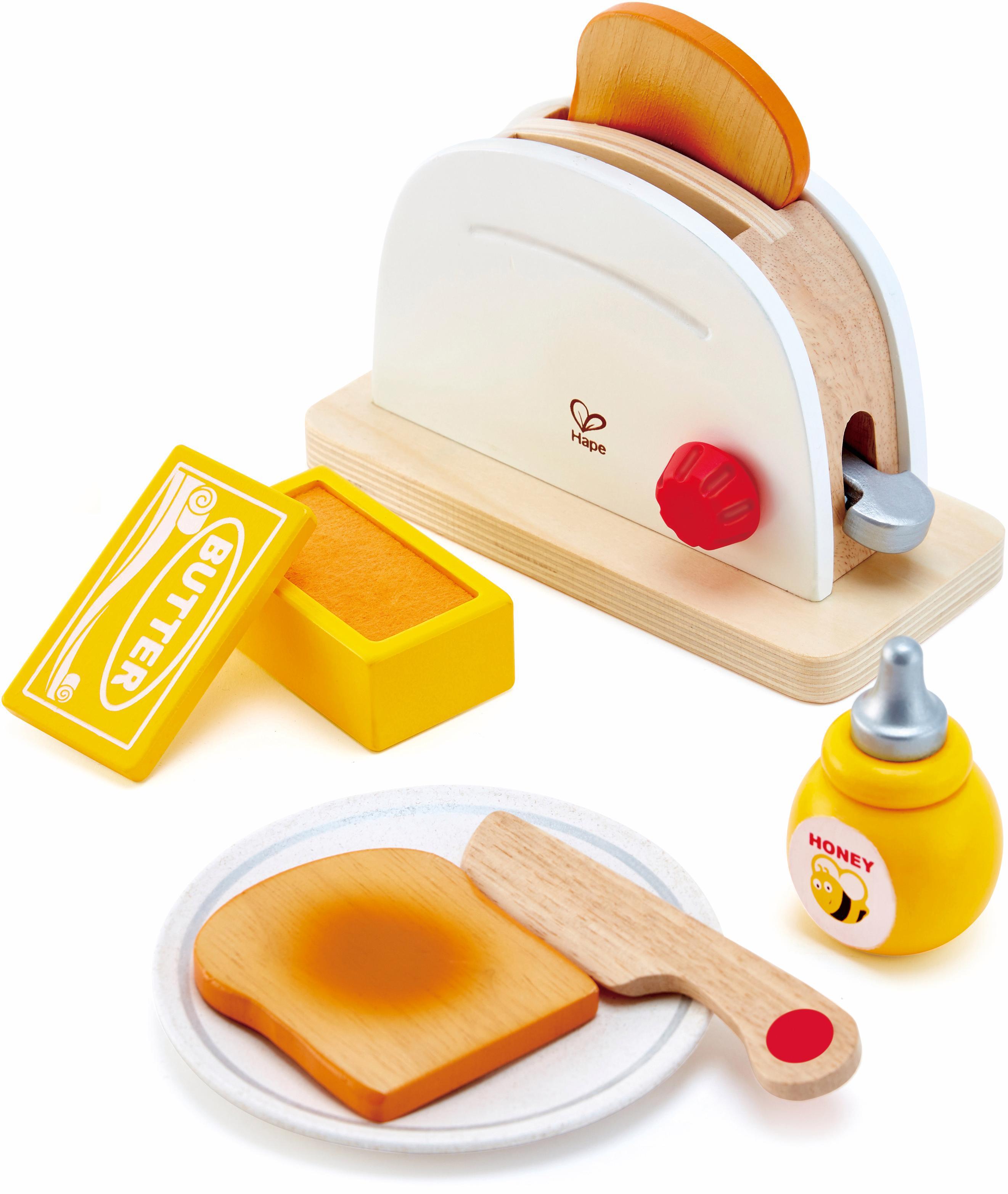 Hape Kinder-Toaster Pop-Up-Toaster-Set, 7-tlg. (Set, 7-tlg.) beige Kinder Kinderküchen Zubehör Kaufladen Spielzeug-Haushaltsgeräte
