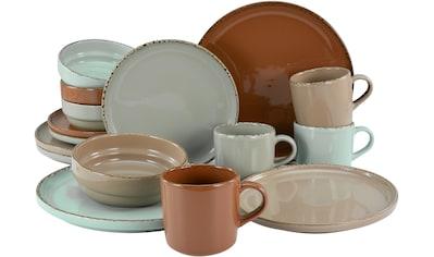 CreaTable Kombiservice »Terra Collection«, (Set, 16 tlg.), 4 angesagte Naturfarben, glänzende Glasur kaufen
