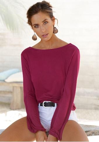 LASCANA Langarmshirt, mit Spitzenband am Ausschnitt kaufen