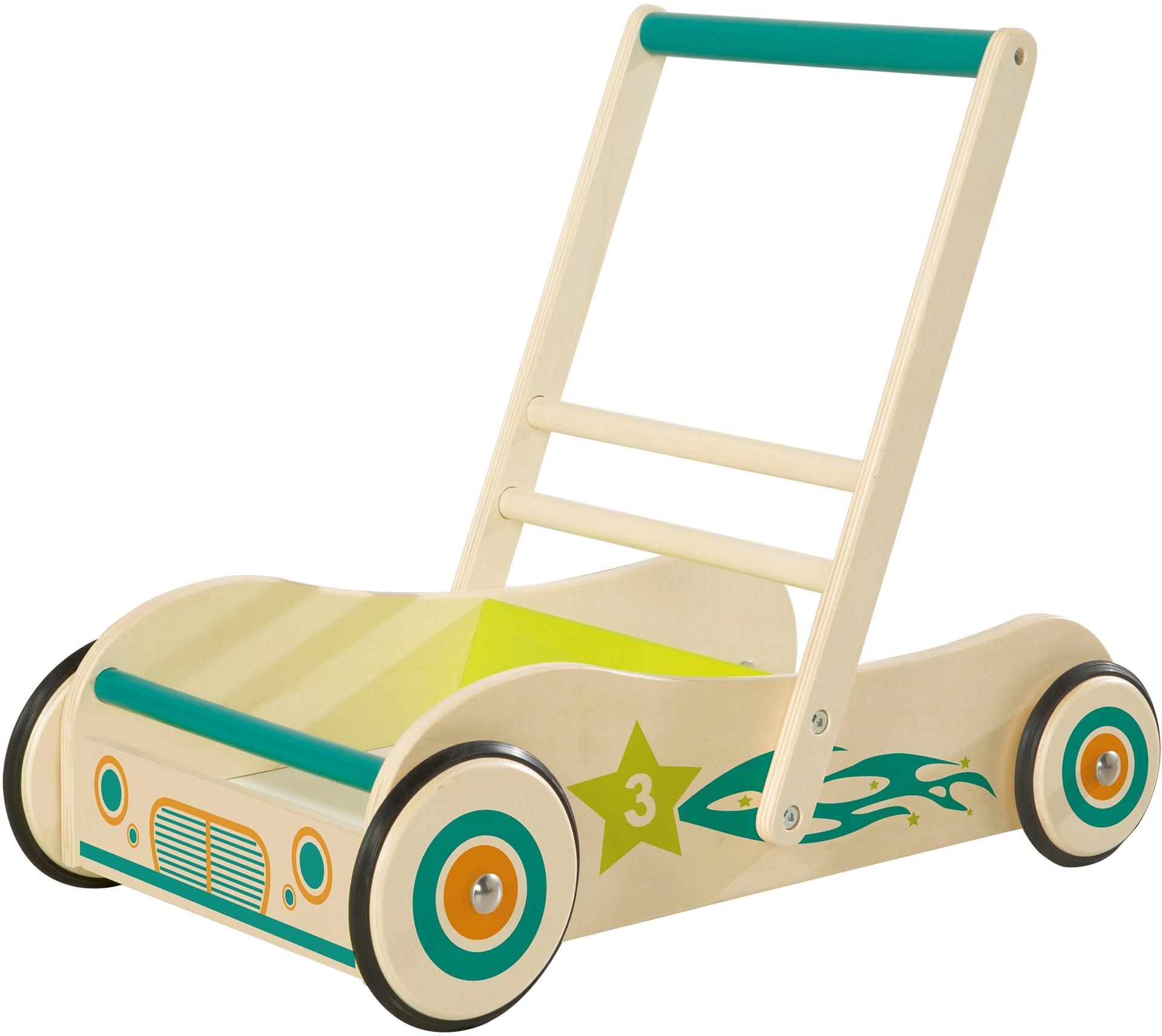 roba Lauflernwagen, aus Holz mit Bremse bunt Kinder Lauflernhilfen Baby Kleinkind Lauflernwagen
