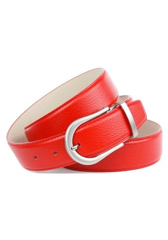 Anthoni Crown Ledergürtel, in rot mit matter silberfarbener Dornschließe kaufen