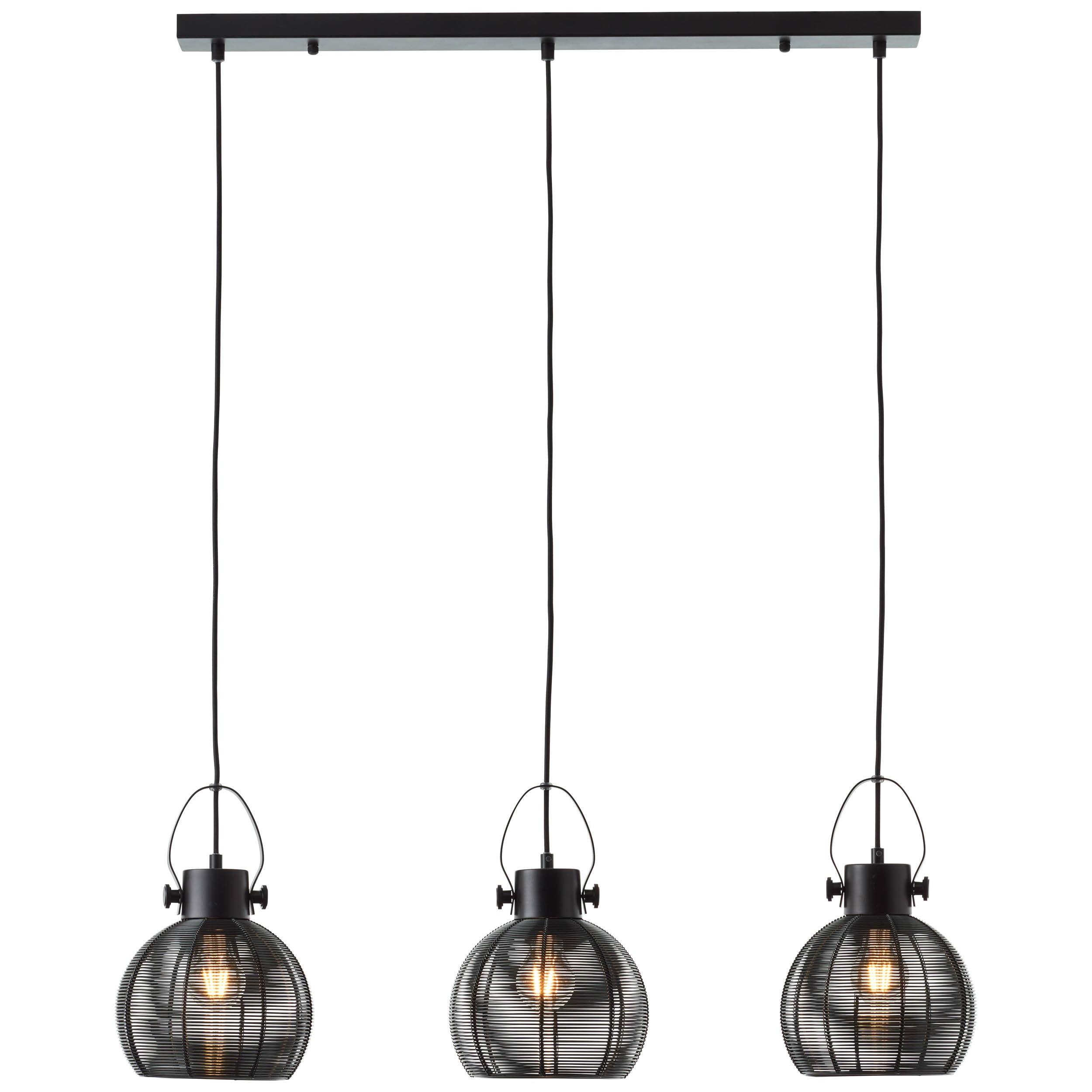 Brilliant Leuchten Sambo Pendelleuchte 3flg Reihe schwarz
