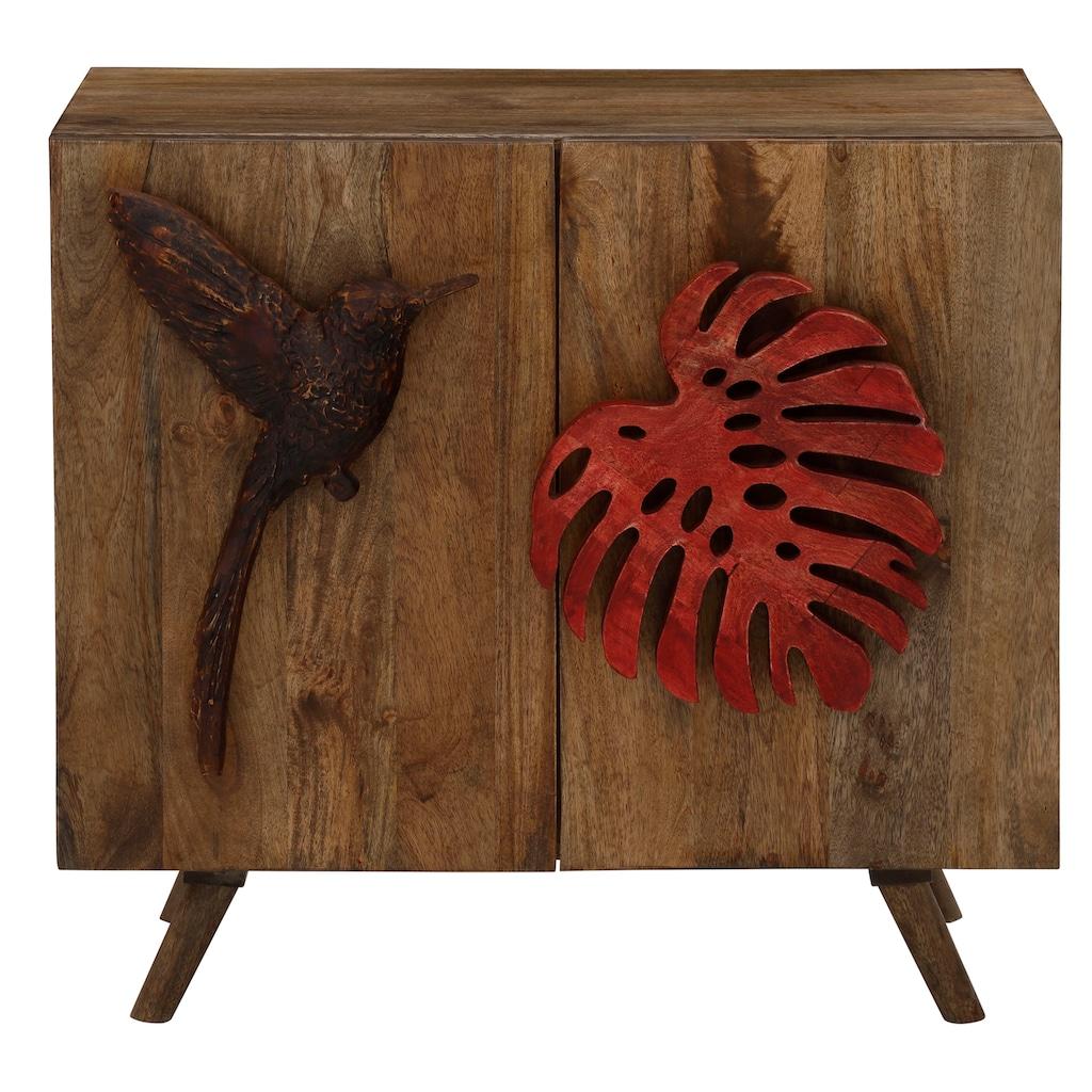 Home affaire Sideboard »Nature«, Der einen Griff ist wie ein Ahornblatt geformt, den anderen wie ein Vogel