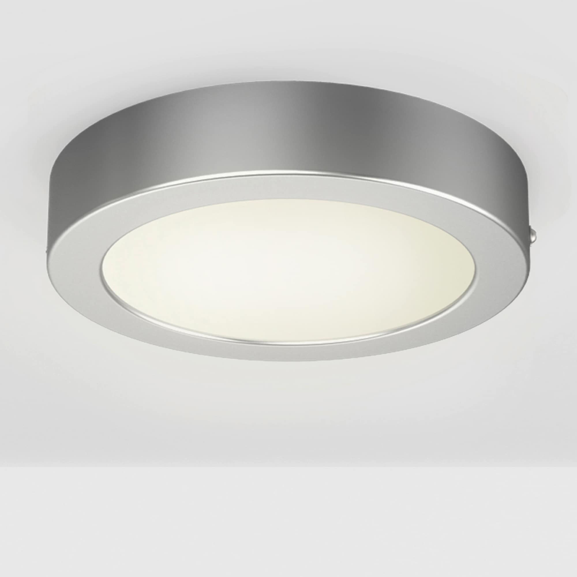 B.K.Licht LED Aufbaustrahler Garnet Grau, LED-Board, Warmweiß, LED Aufputz Deckenlampe 230V Aufbau Wand-Leuchte Panel 12W Deckenleuchte silber