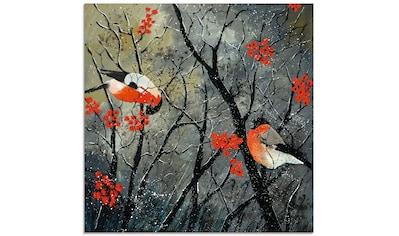 Artland Glasbild »rote Vögel im Winter«, Vögel, (1 St.) kaufen