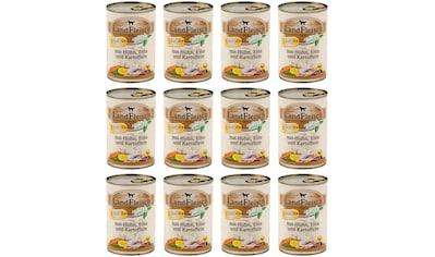 LANDFLEISCH Nassfutter »Junior Huhn, Ente und Kartoffel«, (12), 12 Dosen á 400 g kaufen