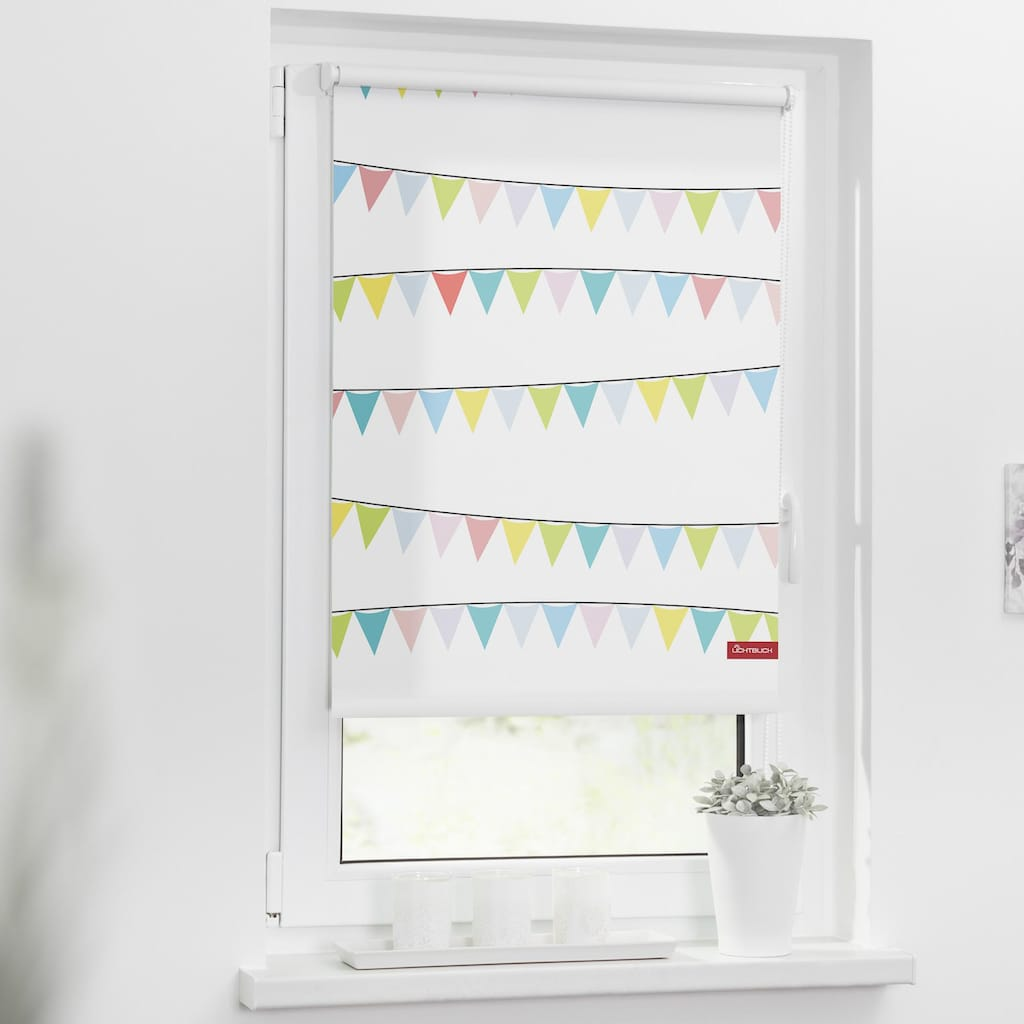 LICHTBLICK ORIGINAL Seitenzugrollo »Klemmfix Motiv Wimpelkette«, Lichtschutz, ohne Bohren, freihängend, bedruckt