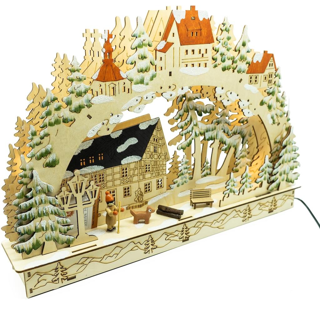 NOOR LIVING Schwibbogen »Bergdorf«, 1 tlg., Länge 36 cm, wahlweise mit Batterie oder Strom