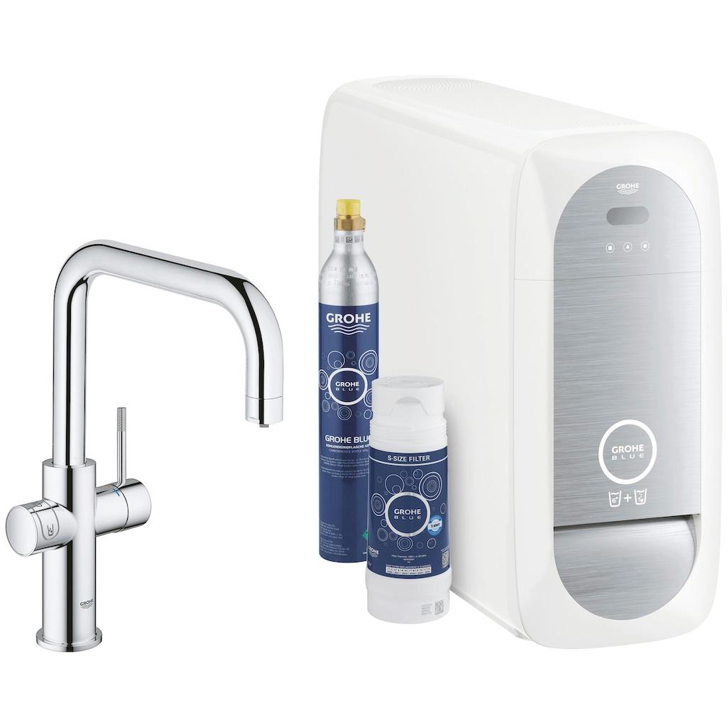 Grohe Küchenarmatur »Blue Home U-Auslauf Starter Kit«, Trinkwasser Still, Medium oder sprudelnd, mit LED Anzeige, App steuerbar