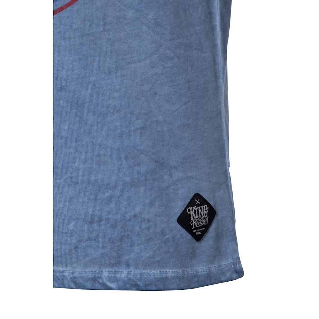 KingKerosin T-Shirt »Garage Built«, mit Oilwash-Effekt und Ärmelaufschlag