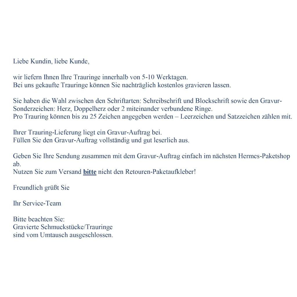 Firetti Trauring mit Gravur »sandmatt, Diamantschnitt, 3,0 mm breit«, Made in Germany, wahlweise mit oder ohne Brillant