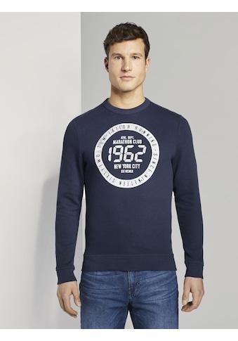 TOM TAILOR Sweater »Strukturiertes Sweatshirt mit Marathon - Print« kaufen