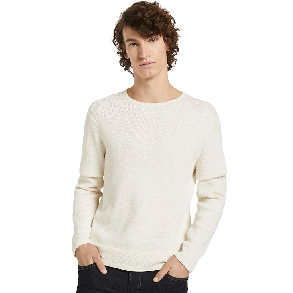 TOM TAILOR Denim Strickpullover, mit dezenter Struktur