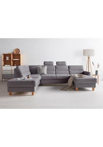OTTO products Wohnlandschaft »Adella«, Stoffe aus recyceltem Polyester, Federkern, wahlweise mit Bett und Bettkasten kaufen