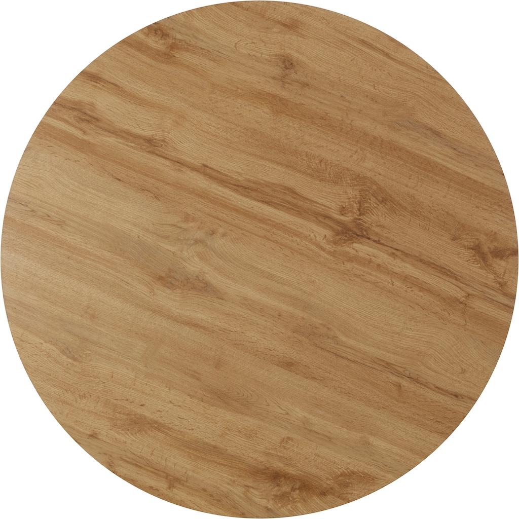INOSIGN Esstisch »Mayla«, mit einer folierten Holzoptik Tischplatte, pflegeleichte Oberflächen, runde Tischplatte, Durchmesser 110 cm