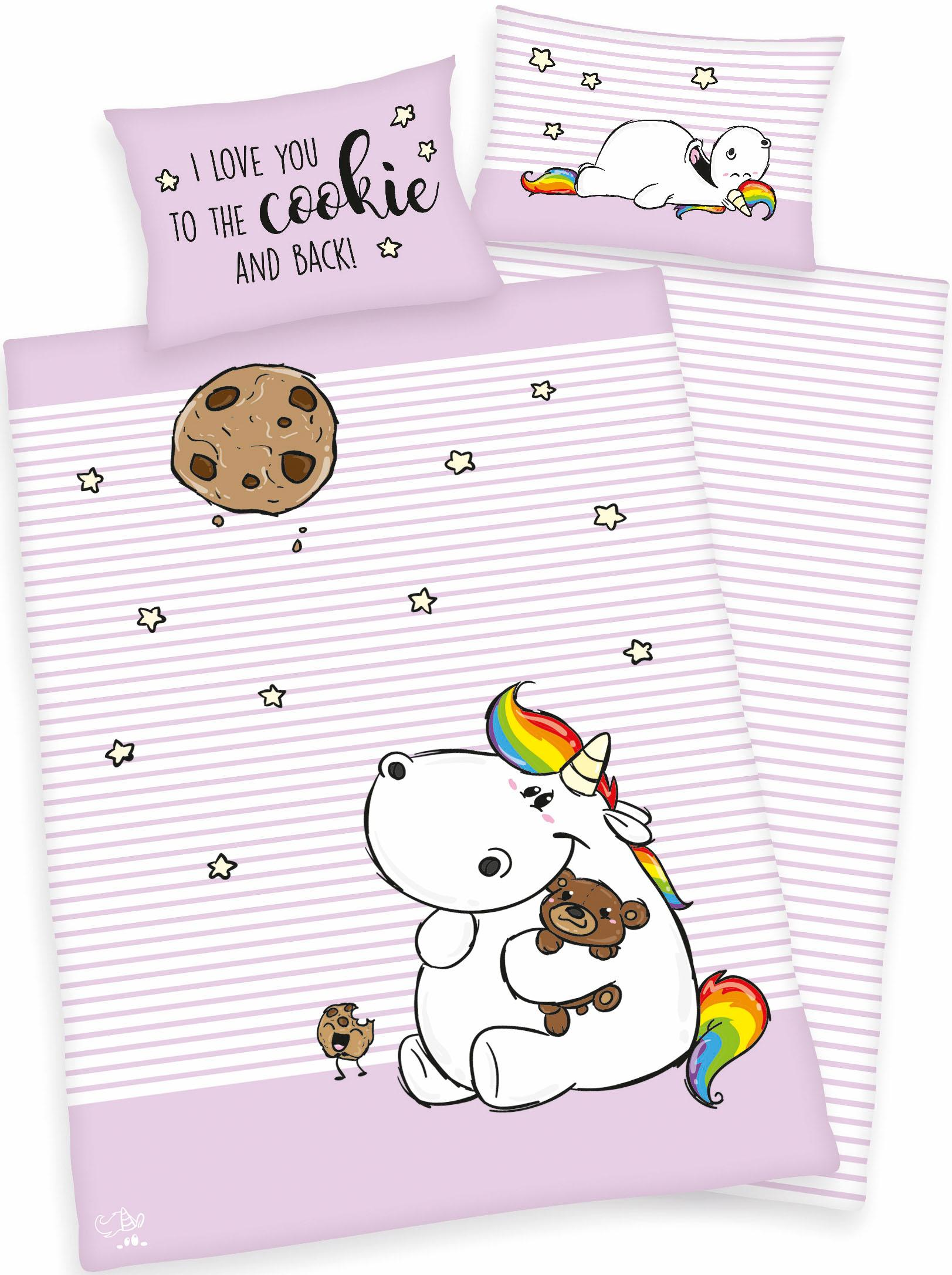Babybettwäsche Cookie Pummeleinhorn | Kinderzimmer > Textilien für Kinder > Kinderbettwäsche | Rosa | Pummeleinhorn