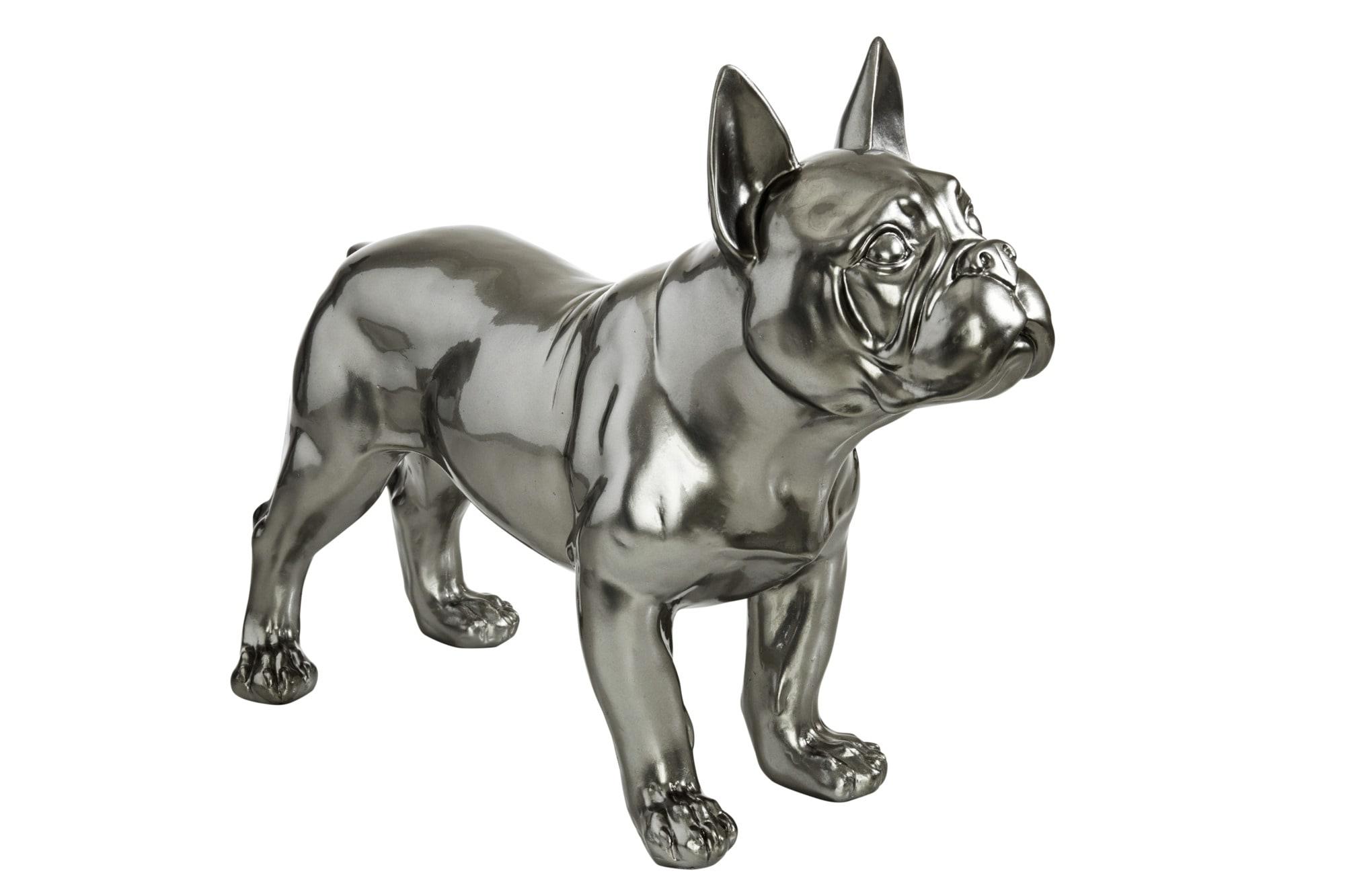 Deko Bulldogge Figur liegend Tierfigur Skulptur Welpe Kunststein Briefbeschwerer