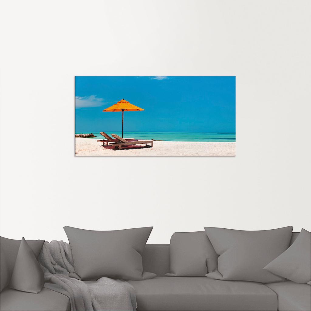 Artland Wandbild »Liegestuhl Sonnenschirm Strand Malediven«, Strand, (1 St.), in vielen Größen & Produktarten - Alubild / Outdoorbild für den Außenbereich, Leinwandbild, Poster, Wandaufkleber / Wandtattoo auch für Badezimmer geeignet