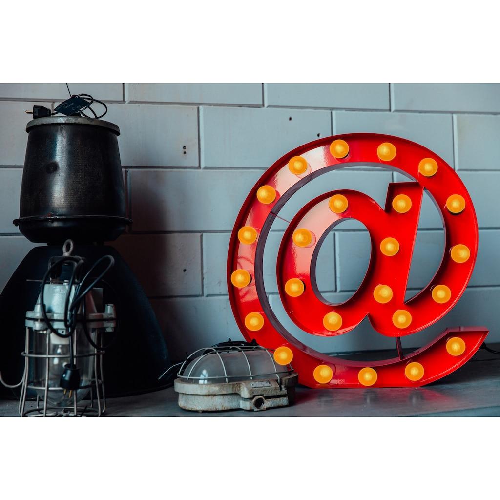 MARQUEE LIGHTS LED Dekolicht »@-Zeichen«, E14, 1 St., Warmweiß, Wandlampe, Tischlampe '@-Sign mit 24 festverbauten LEDs - 61cm Breit und 61cm hoch