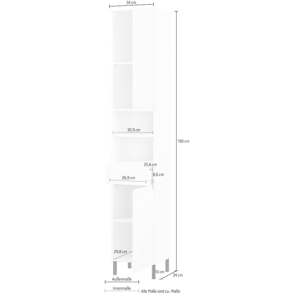 GERMANIA Hochschrank »Scantic«, Breite 34 cm, Badezimmerschrank, 2 Türen, 1 Schubkasten, 2 offene Fächer, Türdämpfer, verstellbare Einlegeböden, grifflose Optik, MDF-Fronten