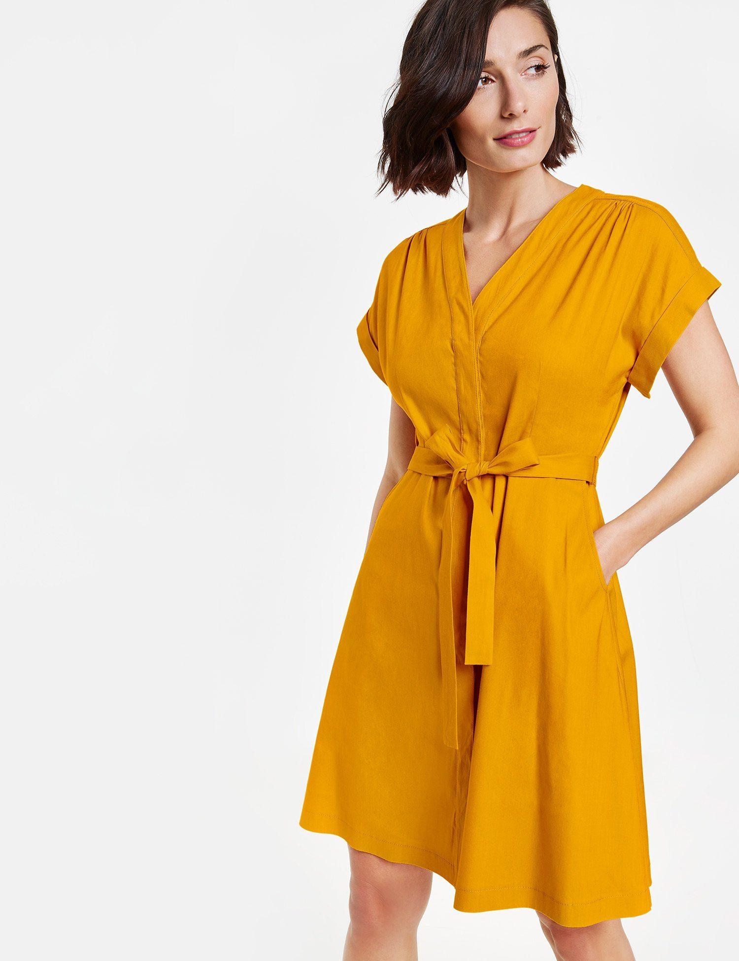 TAIFUN Kleid Langarm kurz Sommerkleid aus Leinen-Mix