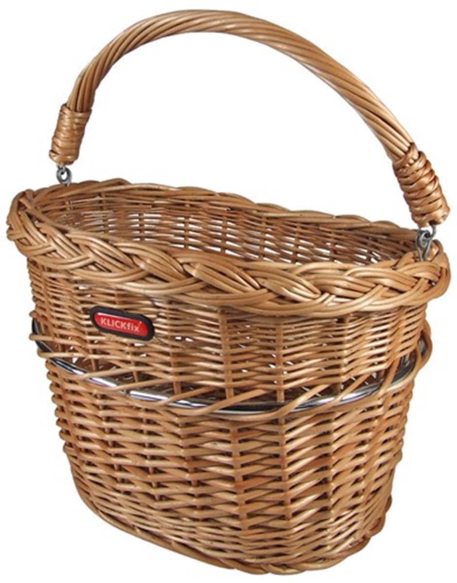 KlickFix Fahrradkorb Vorderradkorb Weidenkorb Mini braun Fahrradkörbe Fahrradzubehör Fahrräder Zubehör Taschen
