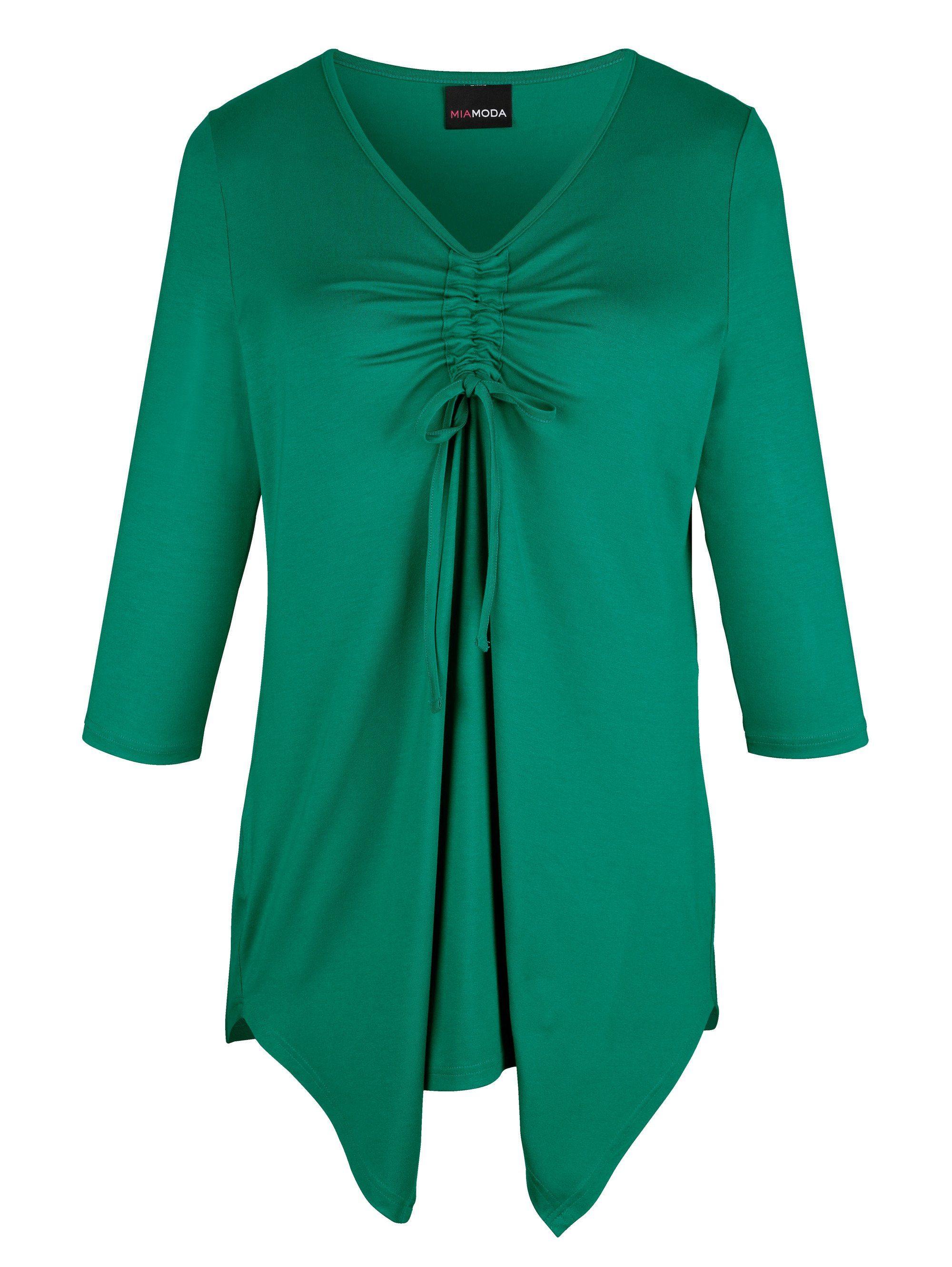 MIAMODA Zipfelshirt mit Raffung und Bindeband am Ausschnitt | Bekleidung > Shirts > Zipfelshirts | Grün | Viskose | MIAMODA