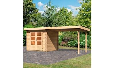 WOODFEELING Set: Gartenhaus »Bastrup 2«, BxT: 554x273 cm, mit Anbaudach kaufen
