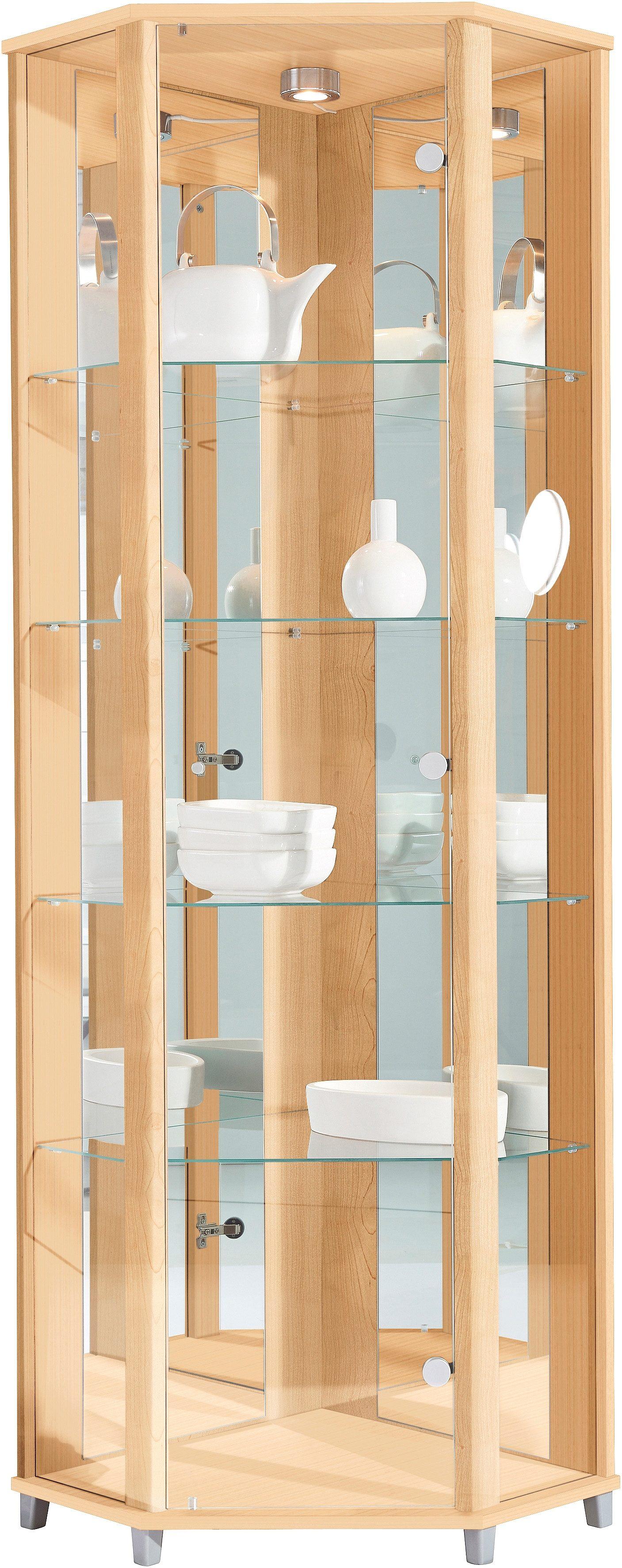 Eckvitrine Höhe 172 cm 4 Glasböden | Wohnzimmer > Vitrinen > Eckvitrinen | Melamin