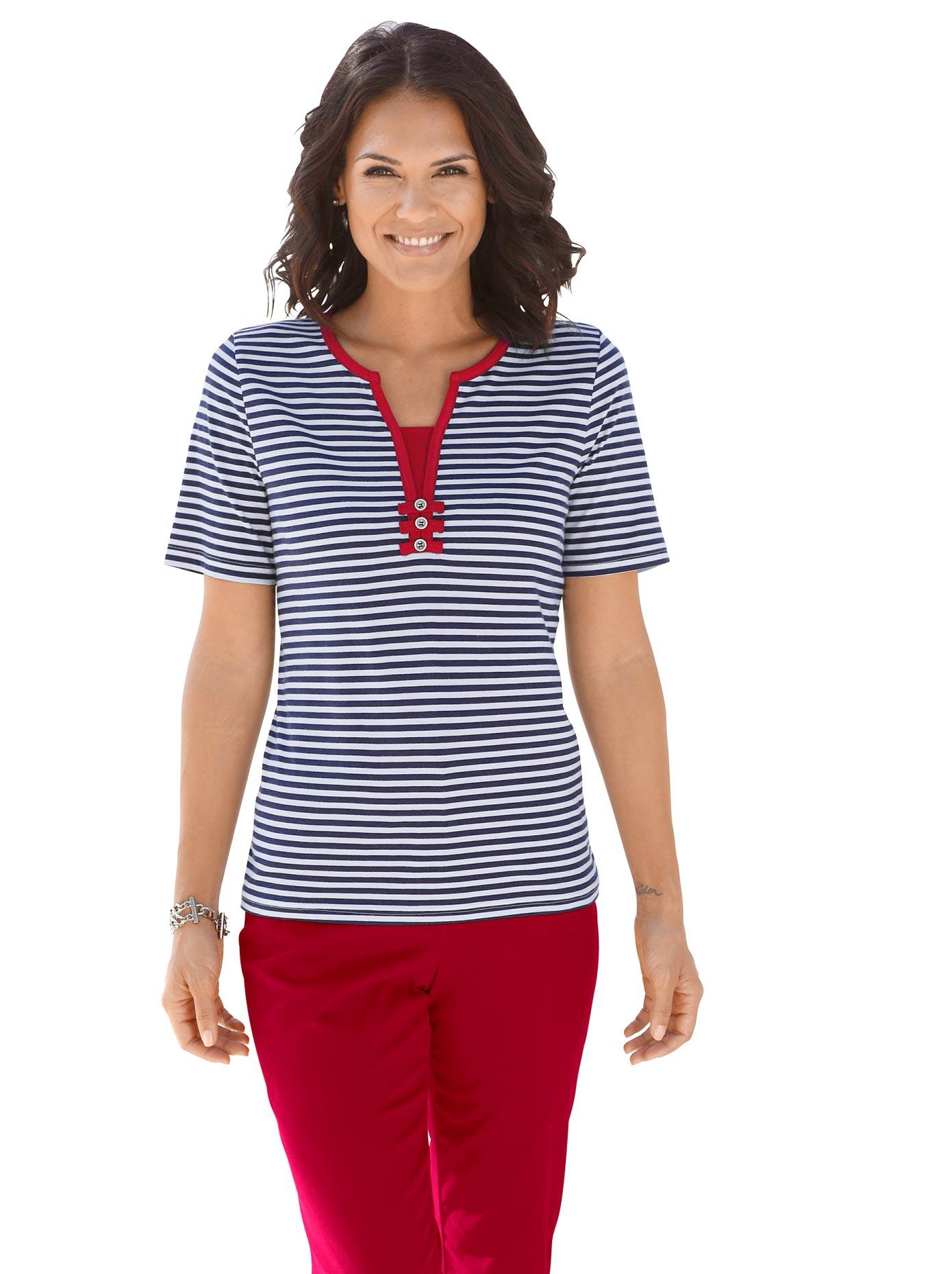 Casual Looks 2-in-1-Shirt mit dekorativem Kontrasteinsatz | Bekleidung > Shirts > 2-in-1 Shirts | Blau | Casual Looks