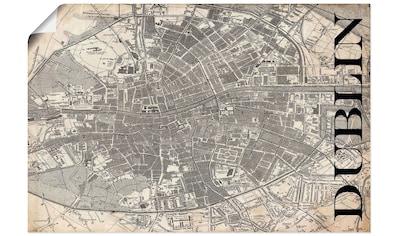 Artland Wandbild »Dublin Karte Straßen Karte Grunge«, Europa, (1 St.), in vielen Größen & Produktarten - Alubild / Outdoorbild für den Außenbereich, Leinwandbild, Poster, Wandaufkleber / Wandtattoo auch für Badezimmer geeignet kaufen