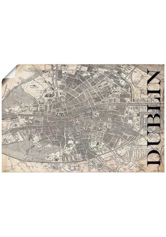 Artland Wandbild »Dublin Karte Straßen Karte Grunge«, Europa, (1 St.), in vielen... kaufen